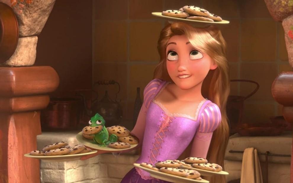 Rapunzel cozinhando