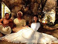 Bianca Rinaldi nos bastidores de A Escrava Isaura.