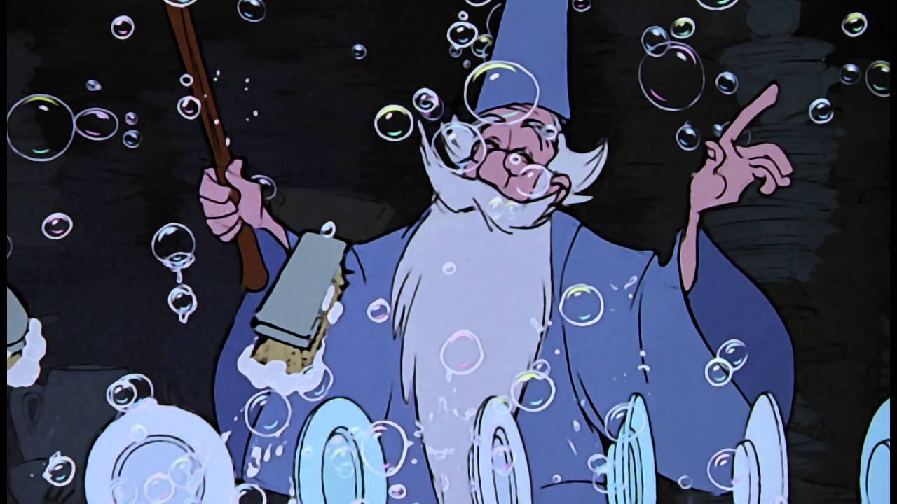 Merlin com bolhas de sabão