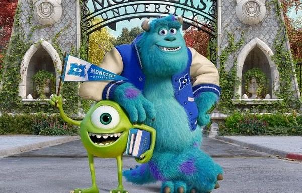 Mike e Sulley na universidade