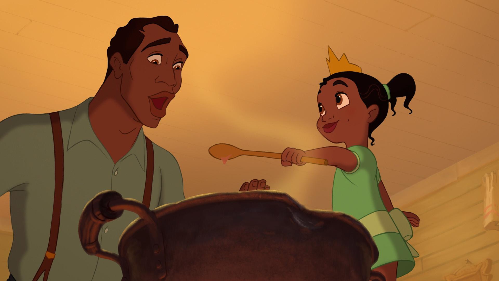 Tiana cozinhando com o pai