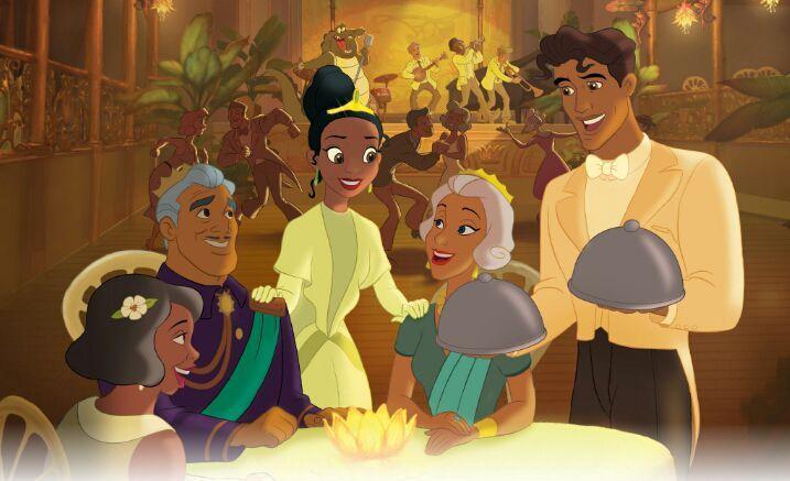 Tiana e Naveen com os pais