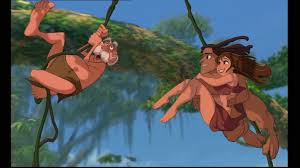 Professor,Jane e Tarzan no cipó