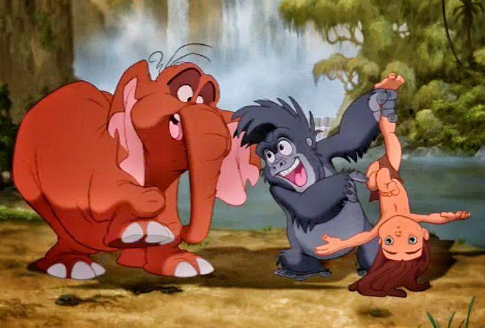 Tantor,Terk e Tarzan crianças