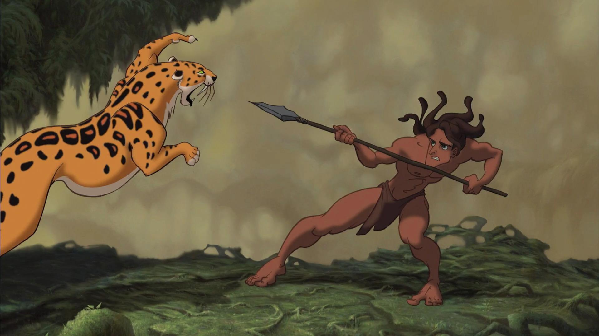 Tarzan lutando com o Leopardo