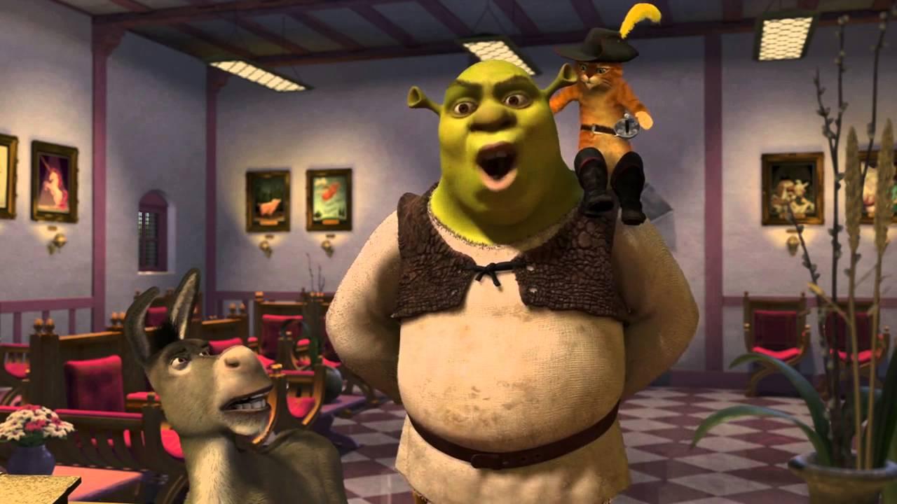 Burro,Shrek,Gato de Botas na fabrica da fada-madrinha