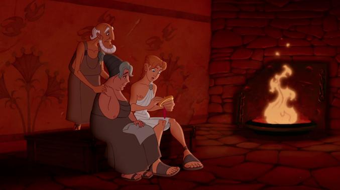 Hercules com os pais adotivos