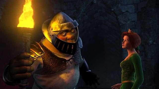 Shrek resgatando a Fiona no castelo