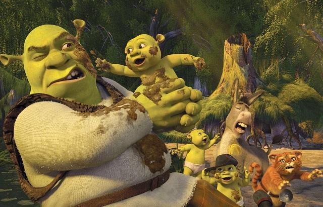 Shrek,Burro,Gato de Botas e os bebes