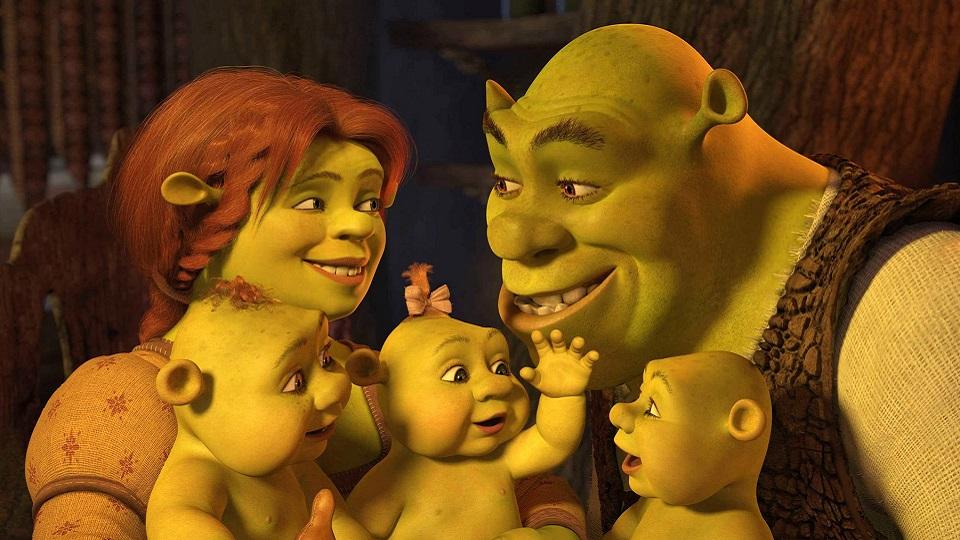 Shrek,Fiona e os trigemeos