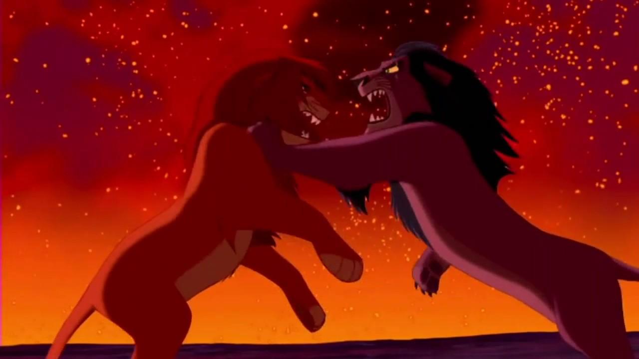Simba e Scar brigando