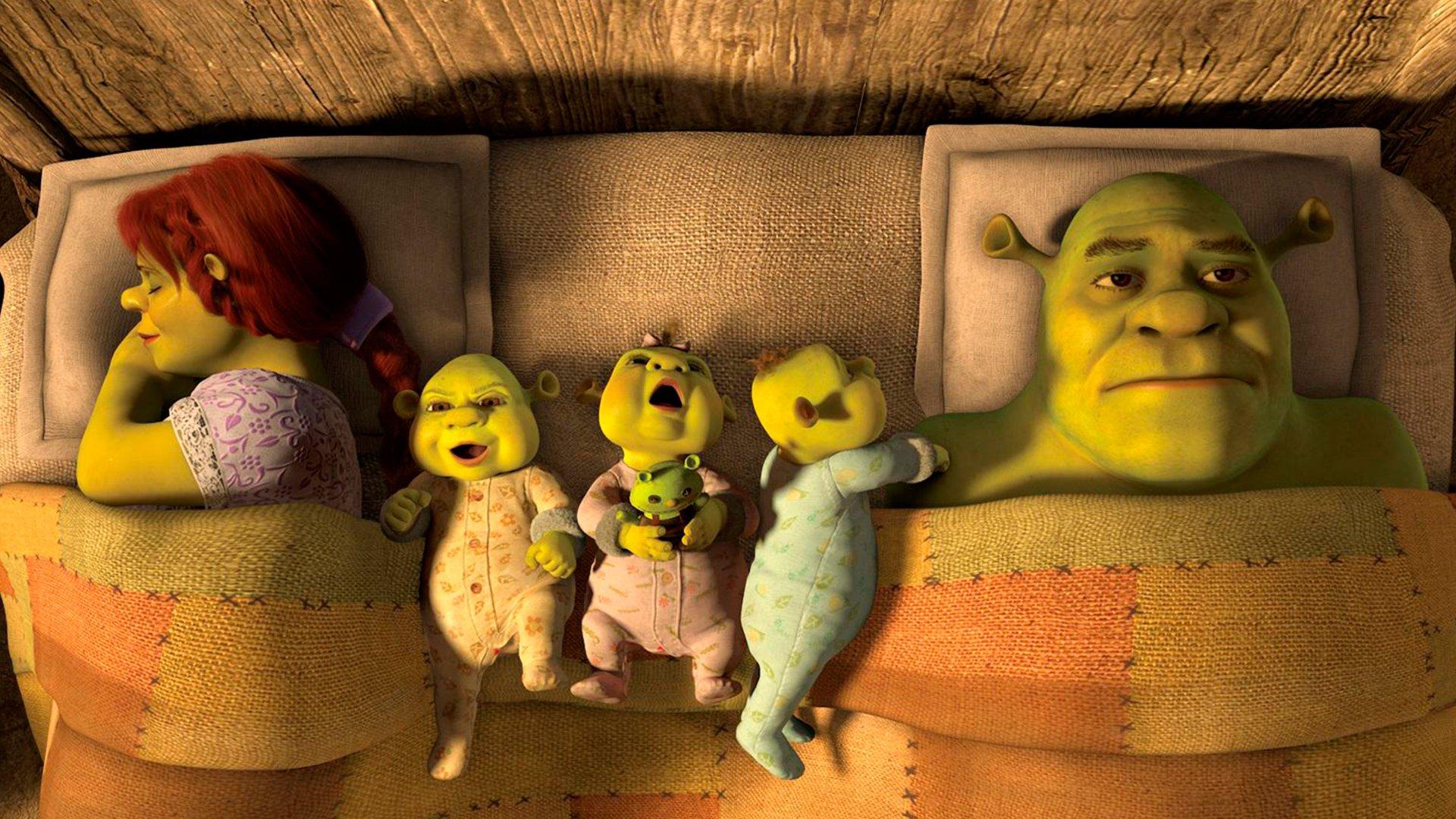 Shrek,Fiona e os bebês