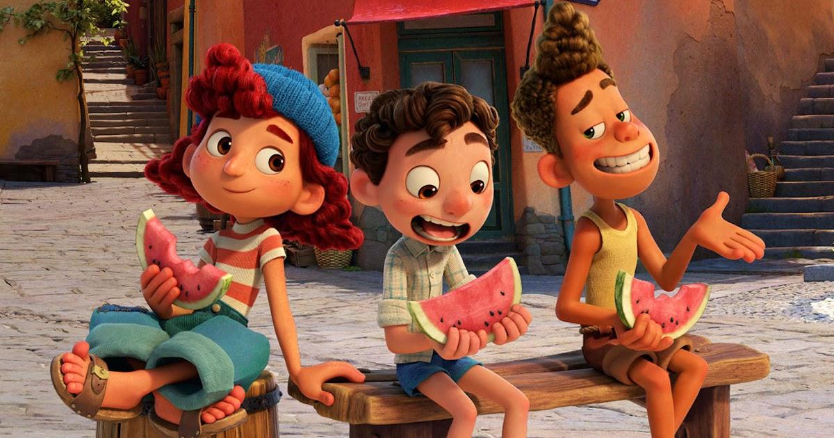 Giulia,Luca e Alberto comendo melancia