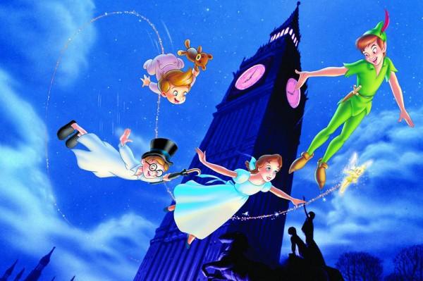 Peter Pan e as crianças voando