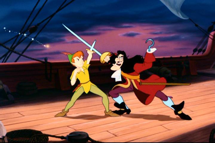 Peter Pan lutando com o Capitao Gancho