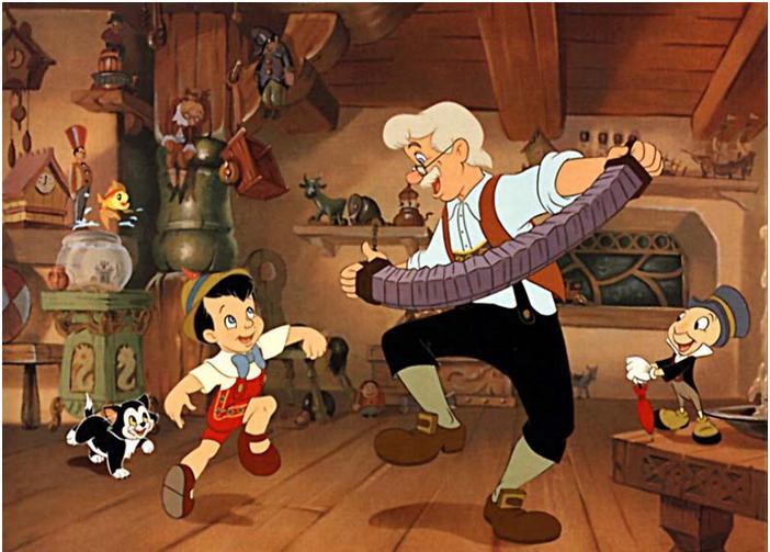Pinóquio e Geppetto dançando