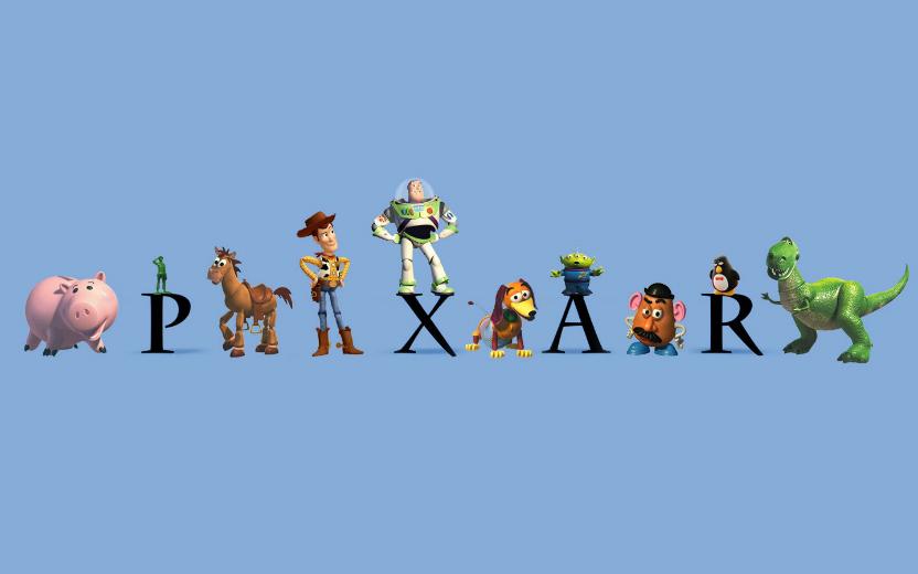 Letreiro Pixar com os brinquedos